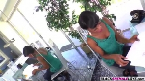 Ebony woman, GaywireChelette is kneeling in front of a group of horny assholes