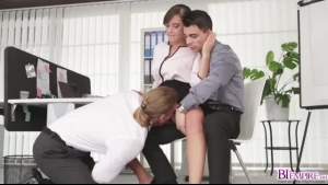 Blonde boss with glasses is having casual sex with her naughty, tattooed employees, during a vacation