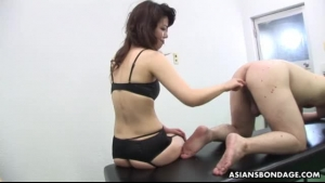 Cadence Lux is wearing a strap- on and fucking a horny guy on the sofa