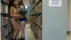 Sexy lesbo babes having oral in the public library